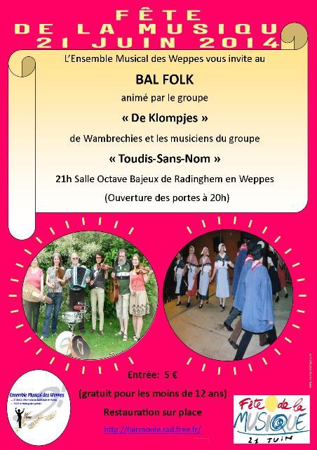Affiche Bal folk fête de la musique à Radinghem en Weppes